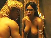 Rosario Dawson exposes huge boobs and sweet pussy