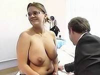 Kerry Katona revealing huge bare tits for a doctor