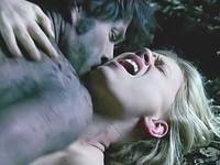Anna Paquin exposes bare boobs during brutish sex