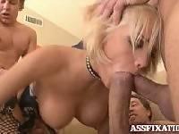 Jenny Hendrix. Blonde slut takes on all three cocks!