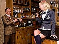 Blonde angel and teacher in serious fucking